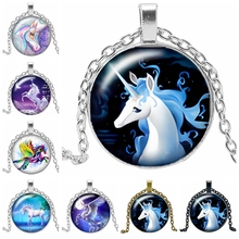2019 New Best Selling Starry Unicorn Series Glass Cabochon Jewelry Pendant Necklace Fashion Gift