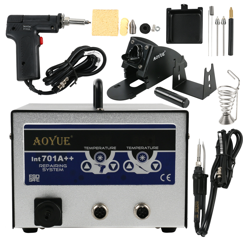 <font><b>AOYUE</b></font> <font><b>701A</b></font>++ 3-in-1 system BGA Soldering Station +Electric Vacuum Desoldering Pump Solder Sucker Gun+with smoke absorber image