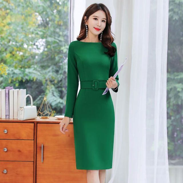 Office Lady Solid O-Neck Bodycon Dress Women Plus Size 4XL Elegant Slim Belt Long Sleeve Party Dress Retro Chic Back Split Dress 1