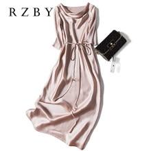 Сексуальное шелковое летнее платье на шнуровке с рукавом до локтя, женское атласное длинное платье, элегантные вечерние платья, модель RZBY098