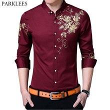 Marke Wein Rot Mens Kleid Shirts 2018 Mode Goldene Rose Blume Druck Hemd Männer Slim Fit Langarm chemise Homme