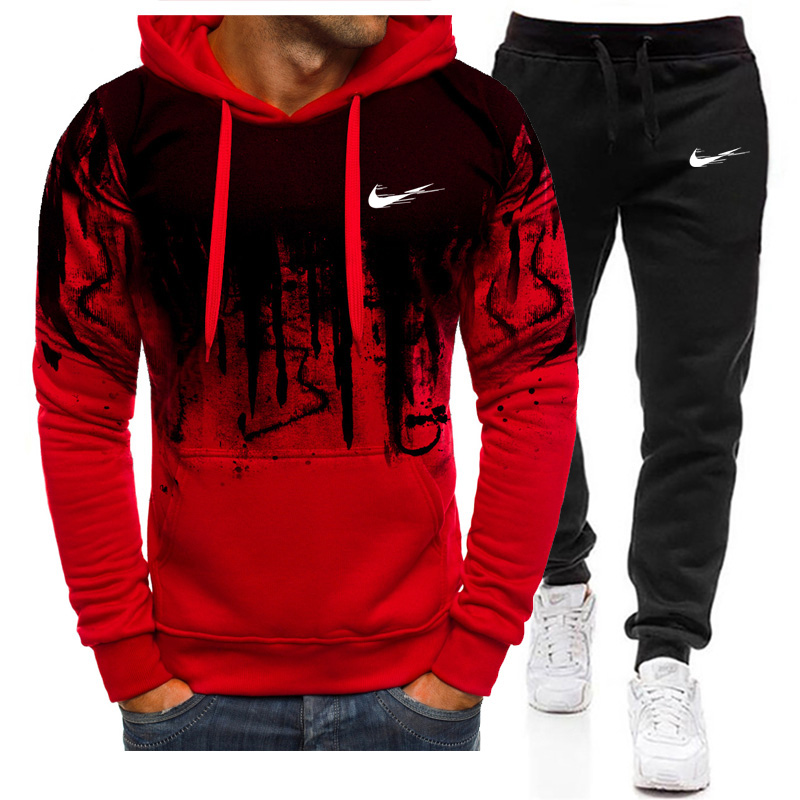 Pullover Hoodies Suit Men's 2pcs Sets Running Tracksuit Winter Brand Casual Hoodies+Jogger Trouser Sportswear Suit Mens Clothing