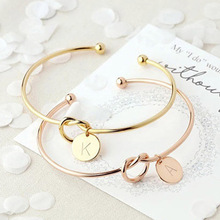 Boosbiy Fashion Link Bracelet Rose Gold/Silver Alloy 26 Letters Knot Charm Brand Female Personality Jewelry Pulseiras