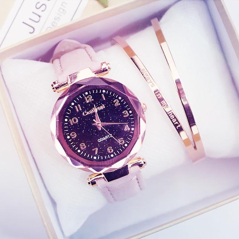 Kobiety zegarki uroczy Starry Sky zegarek kobiety skórzany pasek na co dzień panie zegarek na rękę sukienka zegarek kwarcowy zegar montre femme reloj mujer 1