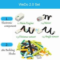 280 pçs/lote técnica wedo 3.0 robótica construção conjunto blocos de construção compatível com legoin wedo 2.0 educacional brinquedos diy 45300