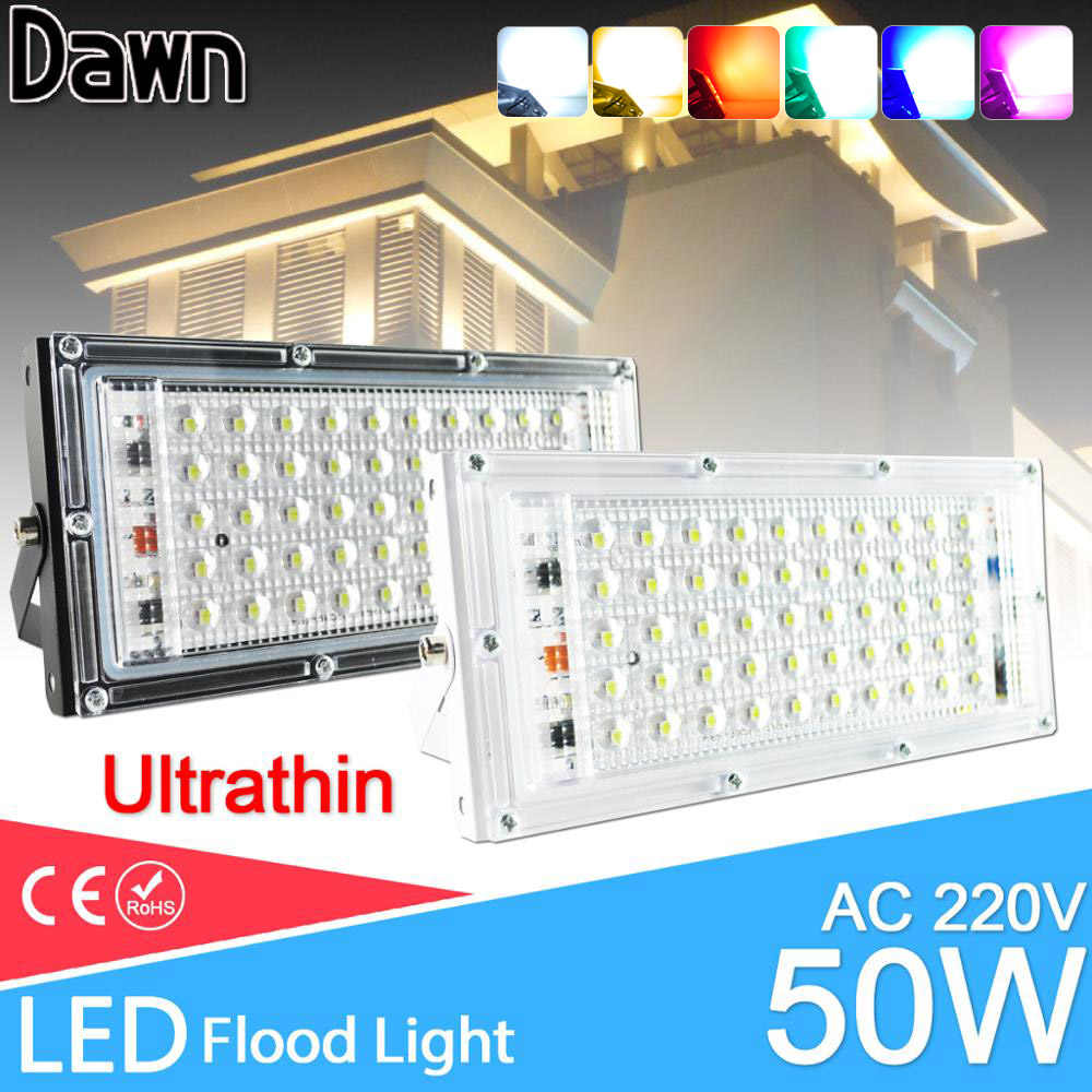 LED Flood Light 10W 50W Kekuatan Nyata Lampu Sorot Lampu Jalan LED 220V 240V Tahan Air Lanskap Outdoor lampu IP65 LED Lampu Sorot