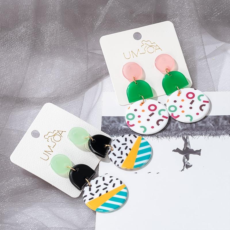 Fashion Korean Acrylic Colorful Irregular Earrings for Women Geometric Round Cute Graffiti Dangle Earings 2020 Hot Party Jewelry