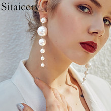 Sitaicery Trendy Elegant Created Big Simulated Pearl Long Earrings Pearls String Statement Drop For Wedding Party Gift