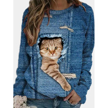 2021 spring new cartoon cat striped casual O-neck long-sleeved T-shirt