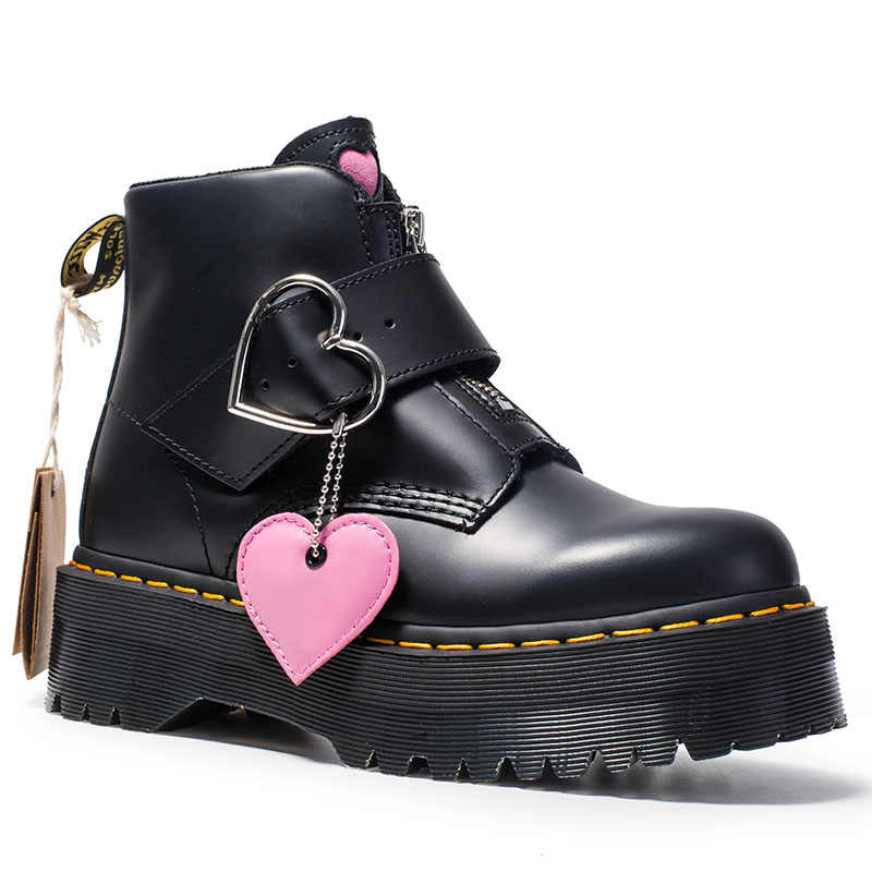 Winter Shoes Female Buckle Cowhide Leather Short Boots Girl Fashion Boots Zipper Love Thick Bottom British Wind Outdoors Shoes