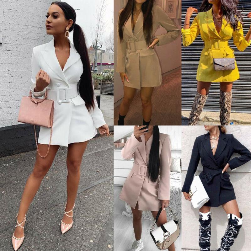 Autumn Spring Women Lapel Long Sleeve Blazer V-neck Double Breasted Pocket Jackets Elegant Work Dress Outerwear