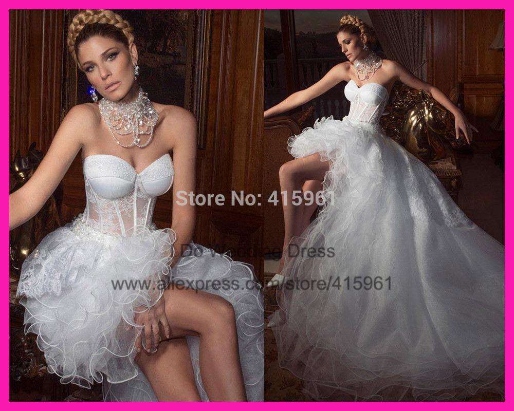 2014 Sensual Sweetheart Transparent Ruffles Lace High Low Wedding Dress Bridal Gown Organza Women W2939