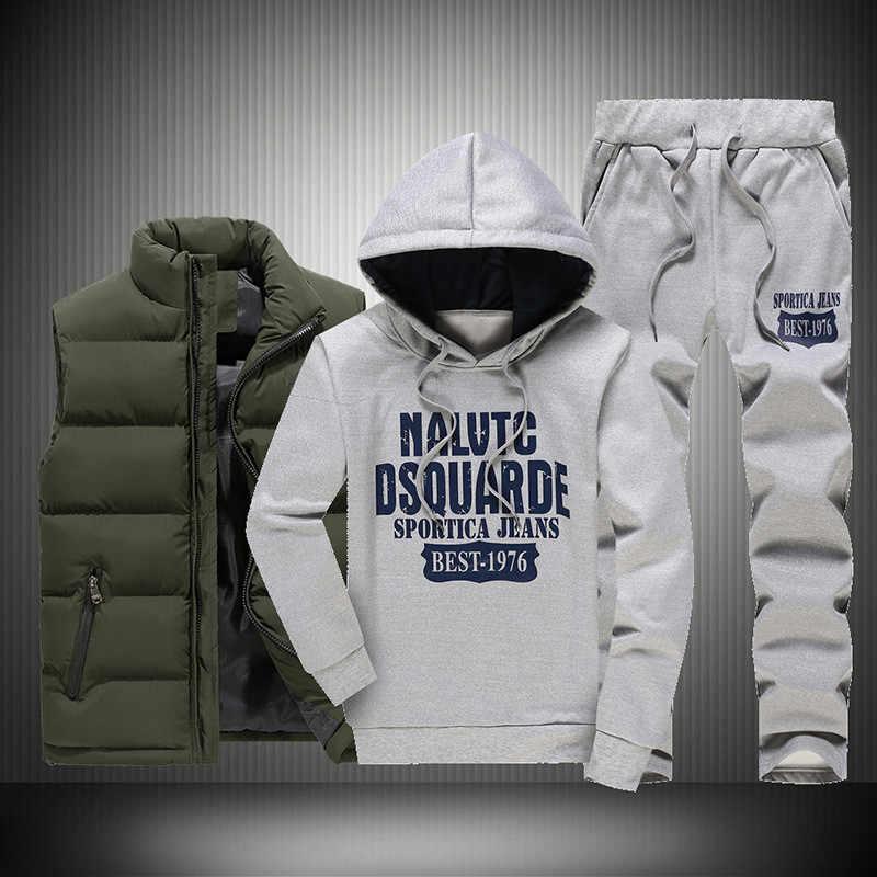 Novo Inverno Engrossar Homens Quentes Treino 3 Peças de Lã Com Capuz Hoodies Zíper + Colete + Calça de Moletom Homem Impressão Terno de Trilha casaco Sportswear