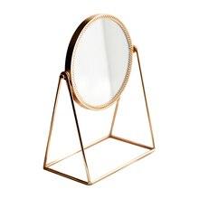 Nordic Metal Standing Mirror Lady Round Table Makeup Bath Room Copper 3D Princess Decoration Home Decor