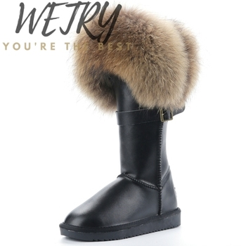 2020 Natural Fox Fur Snow Boots Genuine Cow Suede Leather Boots Shoes Mid-calf Knee Boots Raccoon Fur Warm Female Flat Boots