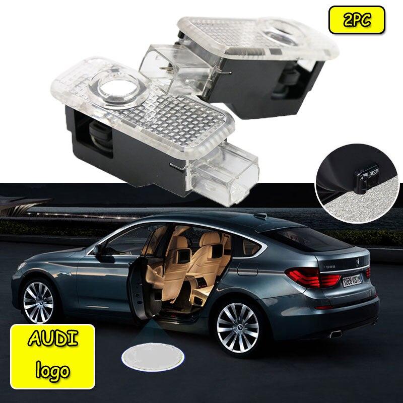2pcs Car LED Door Logo Light For Audi A3 A4 B8 B6 A5 B7 A3 A6 C5 A6 C6 Q7 Q5 Q3 A1 A7 R8 TT TTS SLine Stop Warning Light