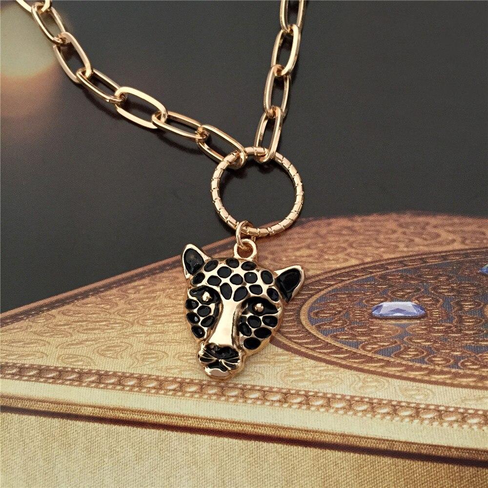 Feminista ouro cor chapeamento preto ponto tigre pingente colar para as mulheres selvagem sexy na moda linda jóias acessório