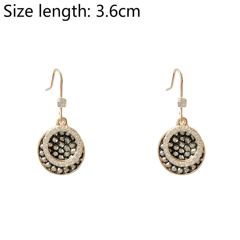 Glamour Fashion Earrings Temperament Retro New Wave Female Net Red Crystal Circle-shaped Wild Female Long Earrings Wholesale