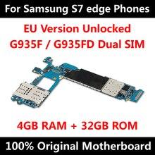Placa mãe original para samsung galaxy s7 edge, g935f g935fd desbloqueio de versão da ue com chips, placa lógica composta os