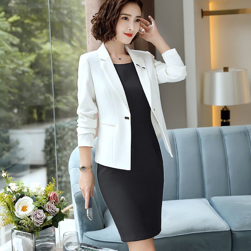 2 Piece Sets Womens Work Wear Outfits Black White Green Dress Suit Wedding  Long Dress with Jacket Woman Dresses Suits