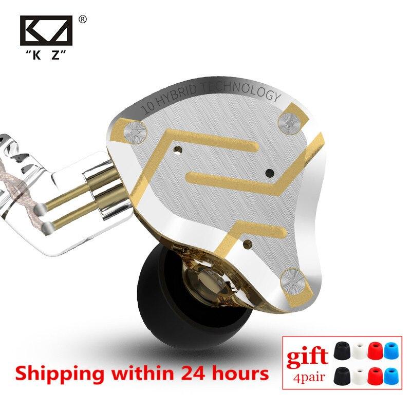 KZ ZS10 PRO 4BA 1DD гибридная металлическая гарнитура HIFI наушники-вкладыши Спортивная гарнитура с шумоподавлением AS10 BA10 ZST ZSN PRO ES4 ZSX AS16