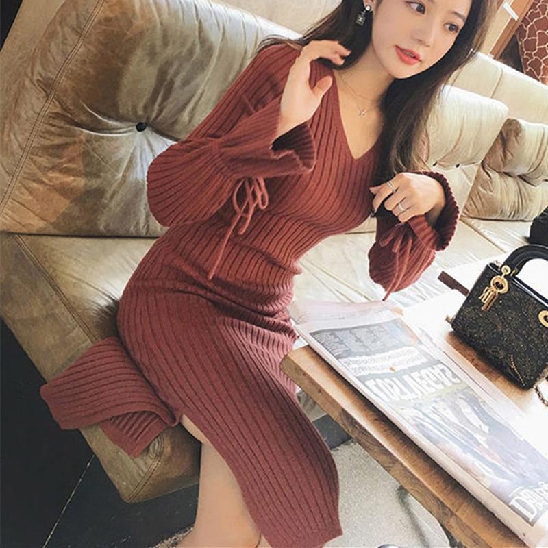 Korean Sweater Dress Women Knitted Belt Dresses Elegant Woman High Waist Sweaters Dress Women V Neck Sweater Stretch Bow Dresses