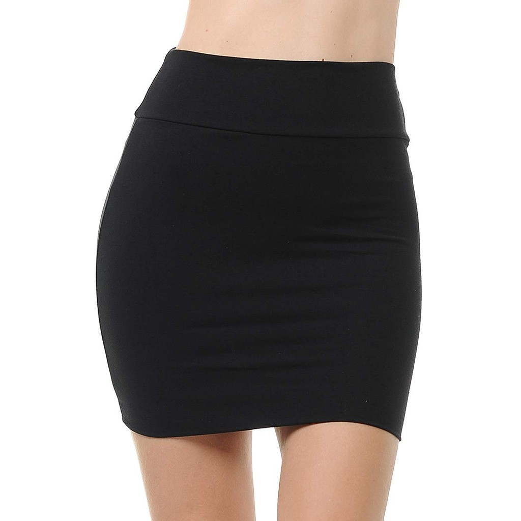 MIARHB Skirts Womens Plus Size High Waist Classic Simple Stretchy Tube Pencil Mini Sexy Skirt Faldas Mujer Moda 2020 Miniskirt