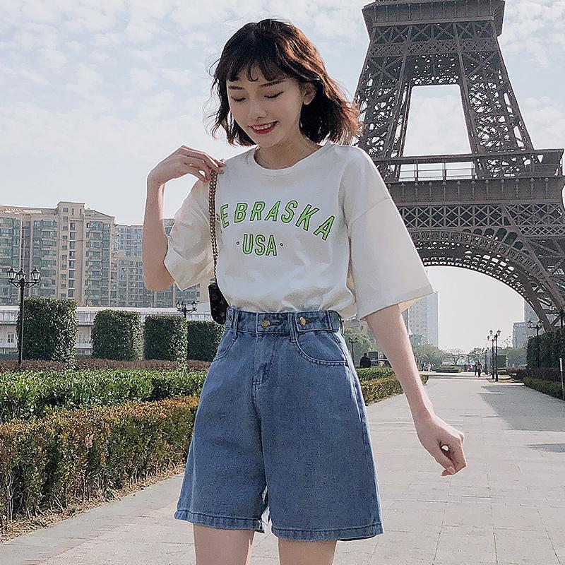 FTLZZ New Summer Women High Waist Button Wigh Leg Jeans Shorts Casual Female Loose Fit Blue Denim Shorts 8