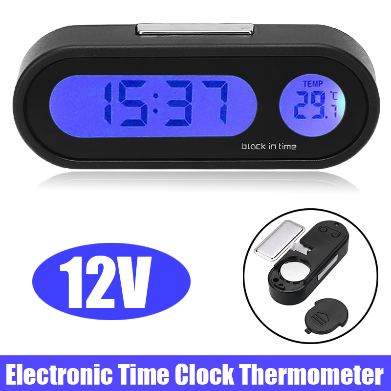 12V LCD Digital LED Car Electronic Time Clock Thermometer With Backlight Fine