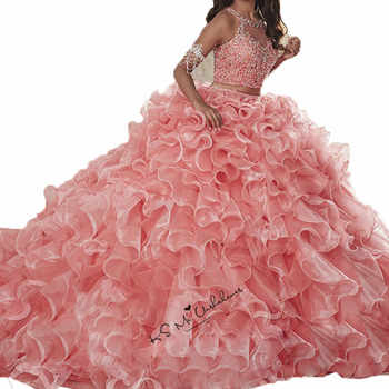 Sweet 16 Dresses Cheap 2 Piece Quinceanera Dresses 2019 Vestido de Debutante Para 15 anos Pink Crystals Ball Gowns Dress for 15 - DISCOUNT ITEM  0% OFF All Category