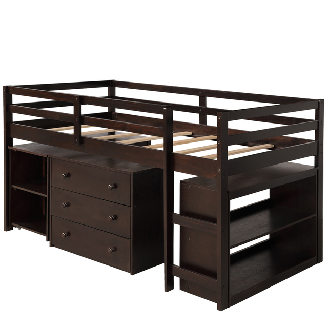Twin Loft Bed with Cabinet and Desk 3
