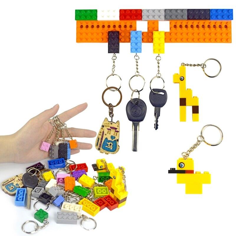 10Pcs/Lot Keychain Keyring Building Blcoks 2X4 Colorful MOC Brick Figure Educational Brick Compatible All Brands Model For Kids