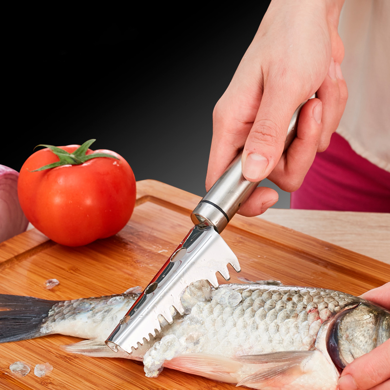 stainless Fish scales Scraping Graters Fast Remove Fish Peeler with tweezer