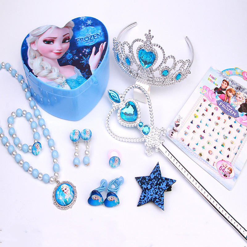 12Pcs/Set Princess Elsa Crystal Crown Cosplay For Children Princess Crown Kids Hair Accessories Tiara Party Dress Up Magic Wand