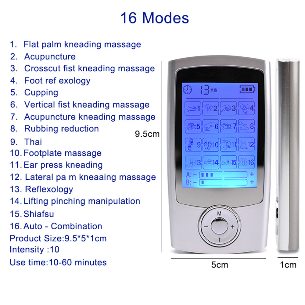 16 Mode Dual Output Digital Electronic Pulse Massager EMS Muscle Stimulator Pain Relief Machine Electro Therapy