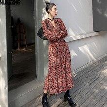 NIJIUDING Elegante V-ausschnitt frauen Kleid Volle Hülse Elastische Taille Weibliche Chiffon Kleid 2020 Frühling Lange Vestidos Femee