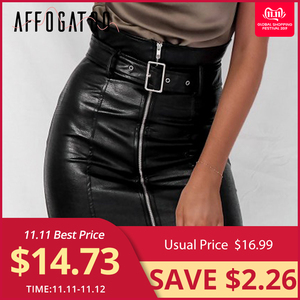 Image 1 - Affogatoo High waist pu leather skirts women Sash zipper pencil mini skirt 2018 Autumn streetwear winter black skirts short