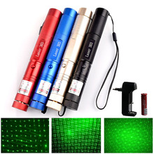 Hunting High Powerful Green Laser Pointer 5mw Range 1000m Military 532nm Laser 303 Pen With Star Cap Flashlight Adjustable Focus