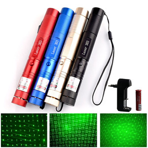 Image 1 - Hunting High Powerful Green Laser Pointer 5mw Range 1000m Military 532nm Laser 303 Pen With Star Cap Flashlight Adjustable Focus