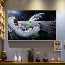 Humor engraçado imagem da arte da parede cervejas pintura em tela astronautas cuadros poster imprime fotos de parede para decoração de casa