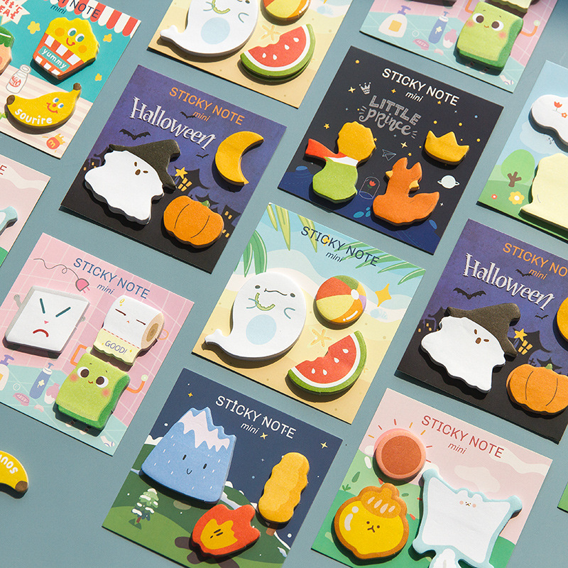 90 Sheets Cute Sticky Notes Little Kawaii Cartoon Stickers Food Holloween Stickers Staionery Shool Office Gifts For Kids
