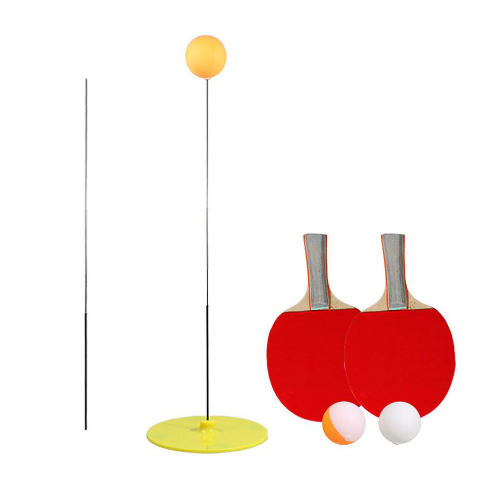 Elastic Soft Shaft Table Tennis Trainer Elastic Rod Training Ball With Leisure Decompression Sports 2 Paddle & 3 Ball Set