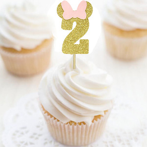 Gold Glitter 2nd Birthday Cupcake Picks Number 2 Cupcake Toppers -12pcs
