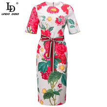 LD LINDA DELLA Designer Women Slim Pencil Dress Summer manica corta moda stampa floreale cintura con fiocco abito longuette Vintage abiti