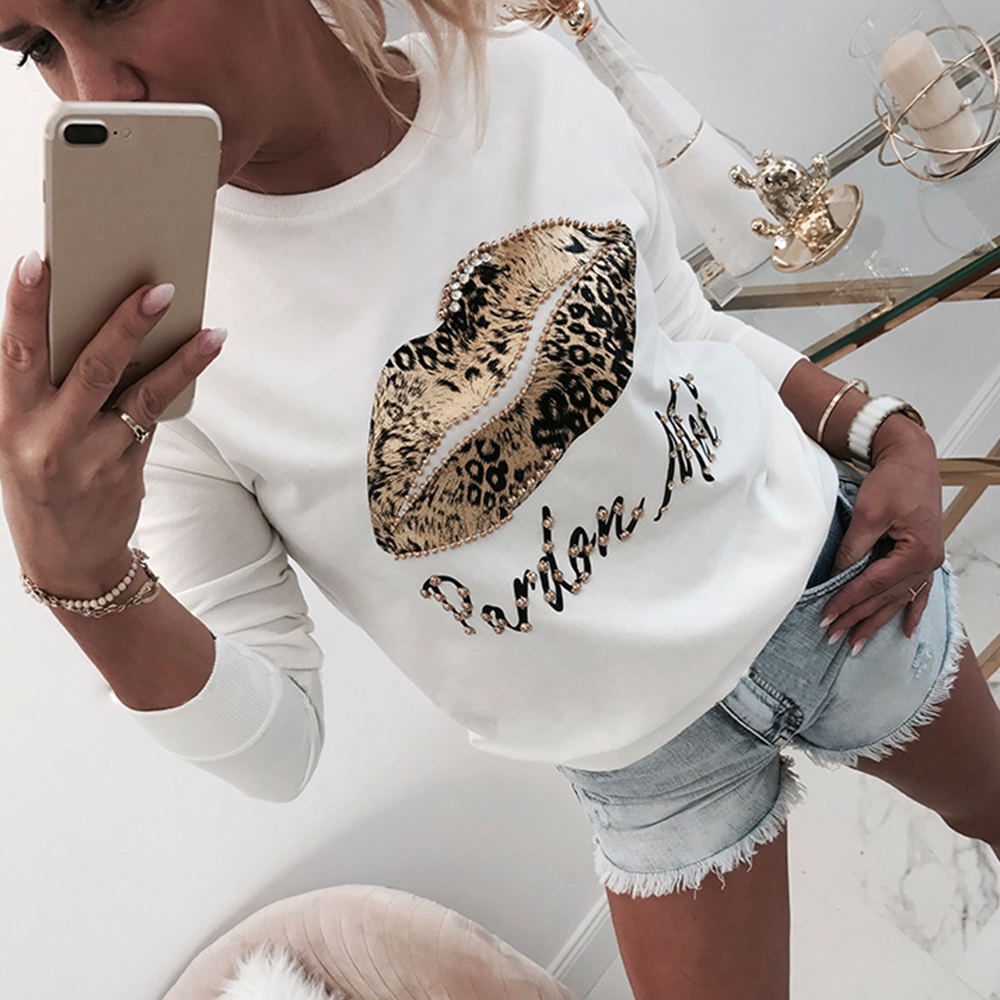 Shirt Autumn Tops Beading Women Blouse Letter Lips Long-Sleeve O-Neck Printed White  title=