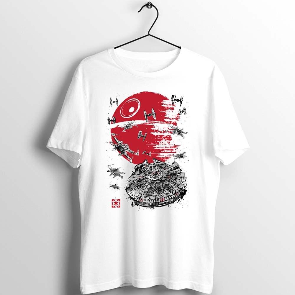 Japanese Style Unix T Shirt Men's Women Star Wars Battle Of Endor Millennium Falcon Watercolor Cartoon Basic Clothes Printed Tee