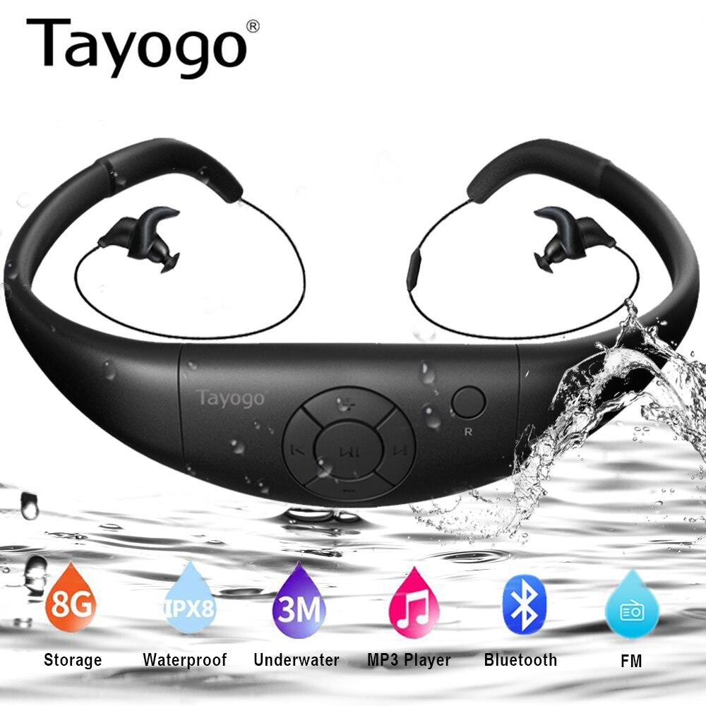 Tayogo W12 Swimming Headset Mp3 Player With Bluetooth FM Radio Pedometer HIFI IPX8 Waterproof Headphone Sports MP3 Music Player
