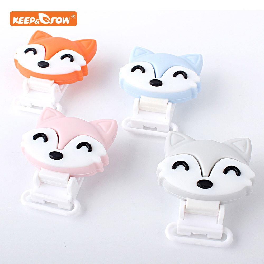 Keep&grow 3Pcs Fox Silicone Dentition Cartooon Shaped Clips BPA Free DIY Baby Soother Nursing Dummy Draft Teethiing Toys Clips