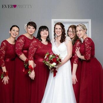 Elegant Lace Bridesmaid Dresses Ever Pretty EP07412 A-Line O-Neck 3/4 Sleeve Sexy Wedding Guest Vestido De Festa Longo - discount item  30% OFF Wedding Party Dress