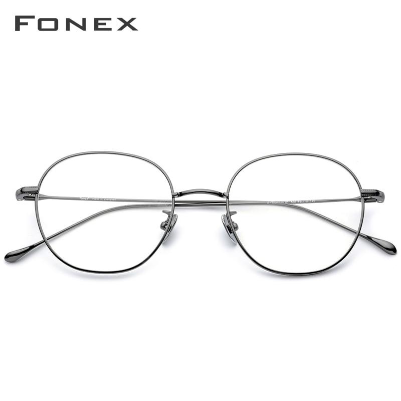 FONEX Titanium Eyeglasses Frame Men Ultralight Retro Round Prescription Glasses Women Spectacles Myopia Optical Eyewear 886